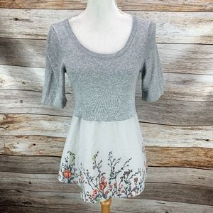 Anthropologie | Moth Gardenia Sweater Gray Floral